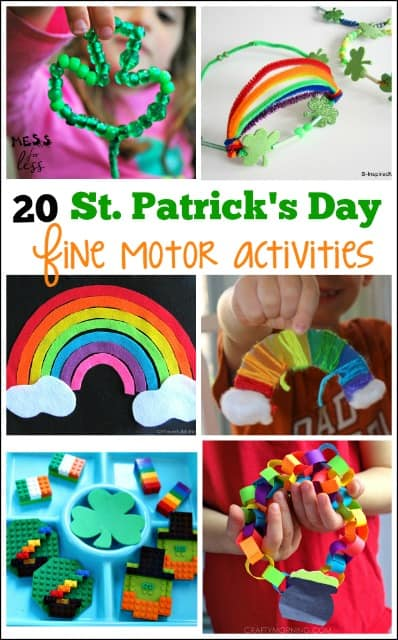 These Kids Fine Motor Activities for St. Patrick's Day are fun and work on an important skill.
