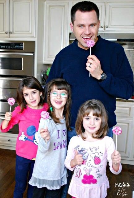 family enjoying brownie cake pops
