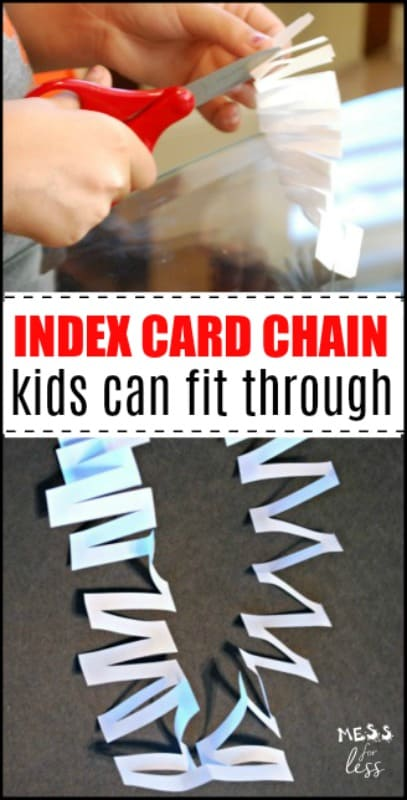 How to Fit Through an Index Card and make an Index Card Chain - Kids are amazed when they can step through an index card. #indexcardchain #indexcardchallenge #kidsactivities