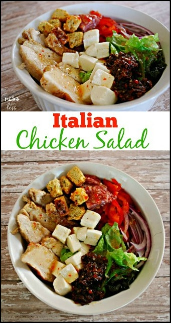 This Italian Chicken Salad is so easy to make and is just bursting with flavor. See why my family begs me to make it all the time. #ad #TBD
