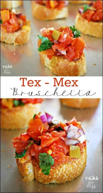 This Tex-Mex Bruschetta Recipe has a kick that satisfies. It takes minutes to make and is super easy. My guests kept begging for more. Sponsored #HibernationSeason