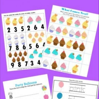 Birthday Themed Free Kindergarten Worksheets