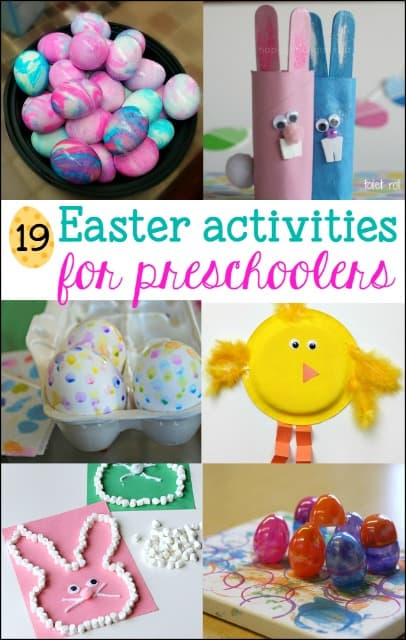 19 Fun Easter Activities for Preschoolers - art, crafts, games and egg decorating ideas sure to please your preschool child.