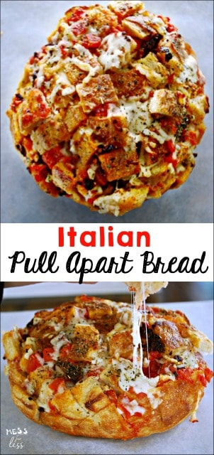 Italian Pull Apart Bread. This simple recipe is always a crowd pleaser. Filled with sun ripe tomatoes and gooey cheese, it doesn't get any better! sponsored #HibernationSeason