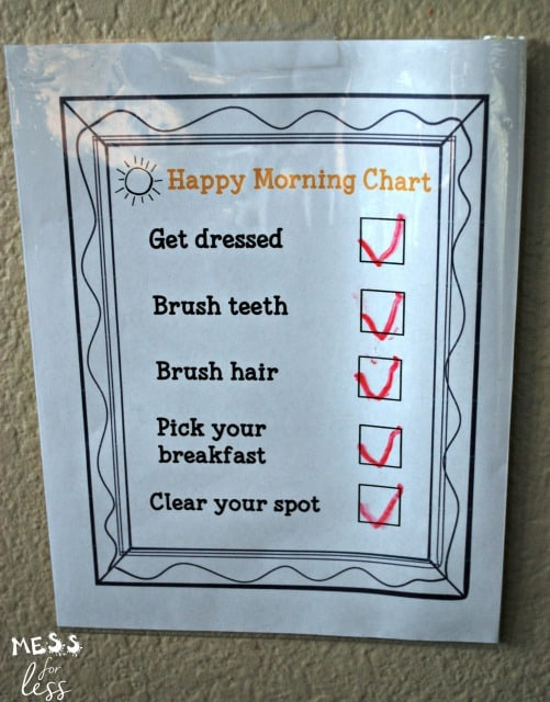 A Happy Morning Chart eliminated our stressful mornings. Download your free chart and enjoy the morning!