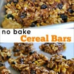 No Bake Cereal Bars with Blueberries