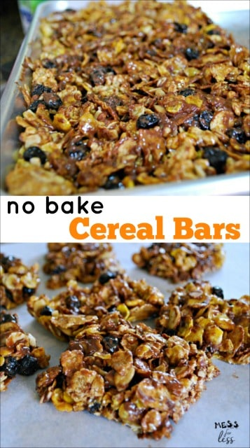 These No Bake Cereal Bars are easy to make and delicious. My kids love the blueberry and chocolate flavor and they make the perfect after school snack.
