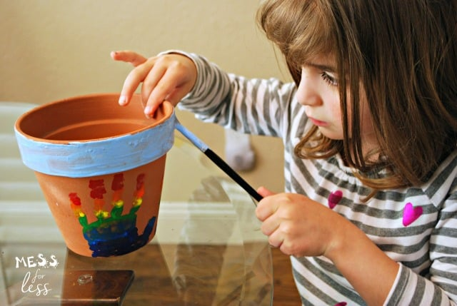 rainbow hand print flower pot