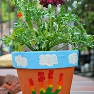 Rainbow Hand Print Flower Pot