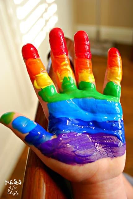 rainbow hand print flower pots