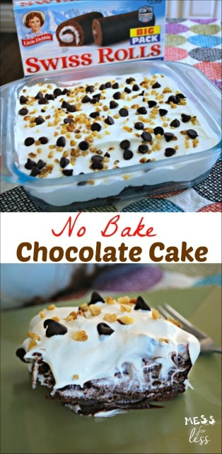 This chocolate no bake cake recipe is perfect for hot days or when time is short. Your guests will love the taste and you'll love how easy it is to prepare. @TheLittleDebbie #ad