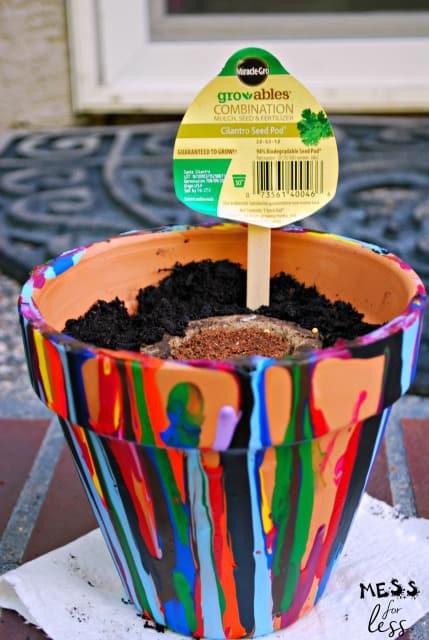 drip painted flower pots