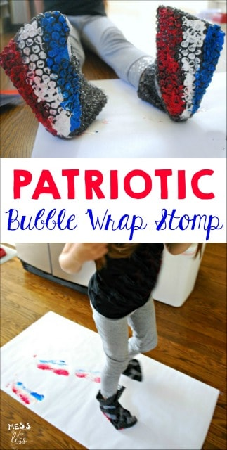 Looking for a fun way to paint? Try this patriotic painting with bubble wrap. Kids will burn off energy while creating art. #sponsored #HugTheMess