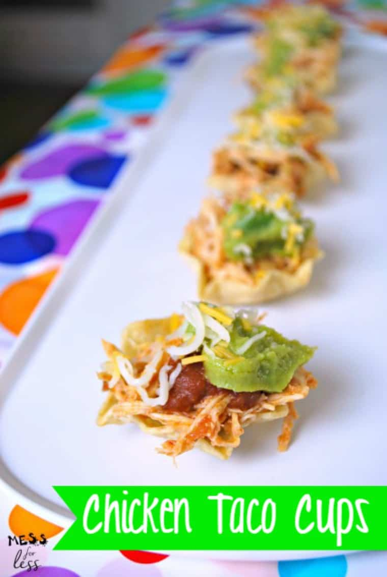 These Chicken Taco Cups are an easy appitzer to make for any party. My guests ask for them all the time! @Bounty ad
