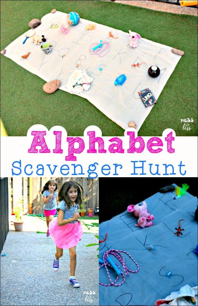 Alphabet Scavenger Hunt - Kids will have fun moving and learning with this fun kids activity. #FamousFootwear #ad