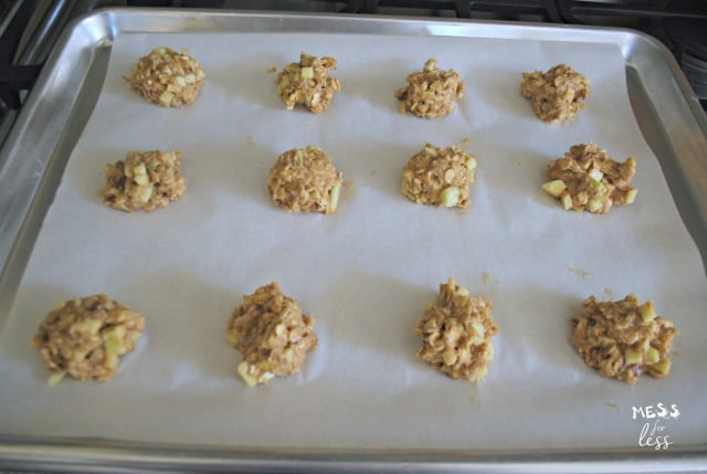 apple cookies on a tray