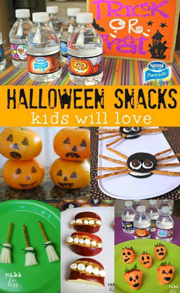 Looking for ideas for a classroom Halloween party? Here are some fun and easy Halloween treats that kids will love. These Halloween snacks will be the hit of your classroom party! #ad #NestleShareAScare @nestlepurelifeus
