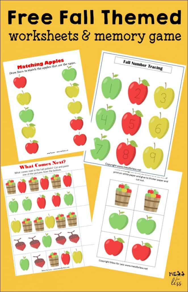Free Kindergarten Worksheets for Thanksgiving - Mess for Less