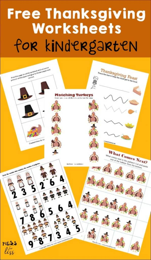 Kids will learn and have a blast with these free kindergarten worksheets for Thanksgiving. Download the free printables and enjoy! #freeworksheets #Thanksgivingworksheets #Kindergarten