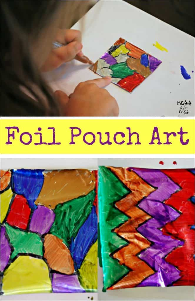 You won't belive how easy it is to make Foil Pouch Art using an item you probably already have in your pantry! ad #SqueezablesSours