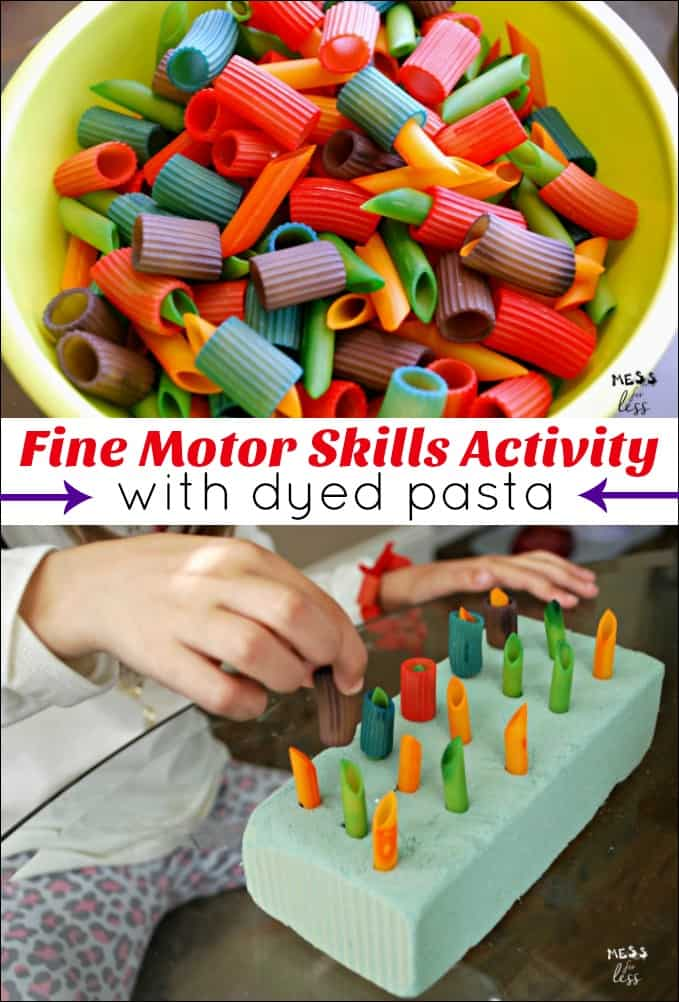 fine motor skills for preschoolers pasta play mess for less. Black Bedroom Furniture Sets. Home Design Ideas