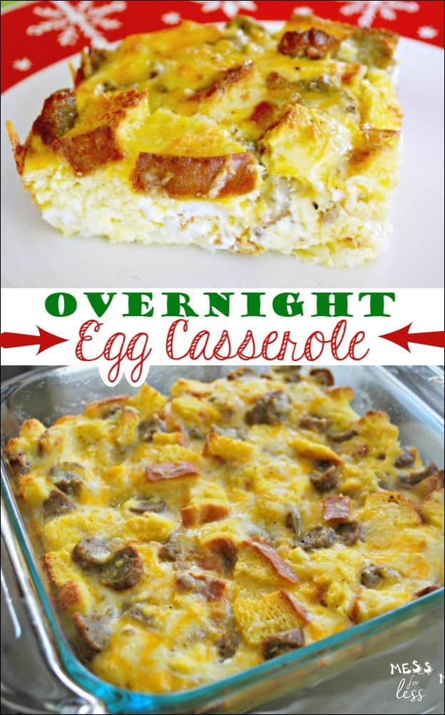 This Overnight Egg Casserole takes just minutes to assemble and can be refrigerated and then baked in the morning. Perfect breakfast dish for holidays and guests! #AD #QuickerPickerUpper