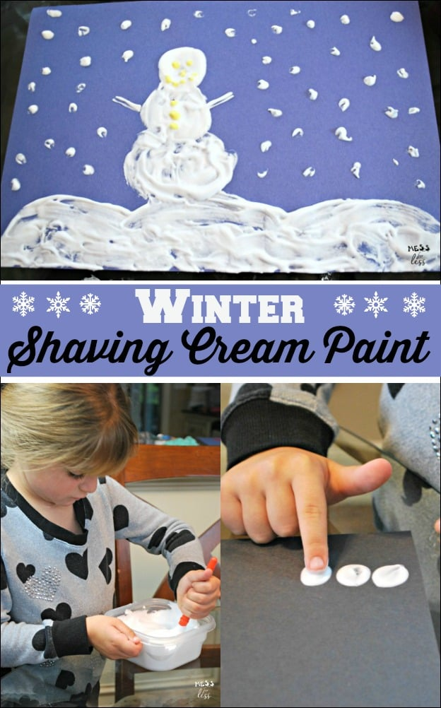 This winter shaving cream paint is so easy to make - just 2 ingredients! We love the texture of this paint after it dries - puffy and soft. Fun kids art activity.
