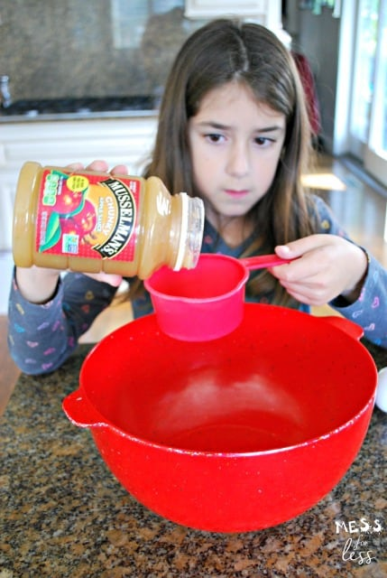 child making apple bread