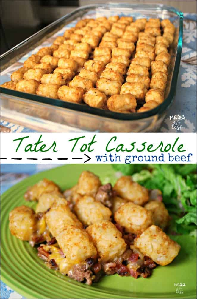 AD This Hamburger Tater Tot Casserole is comfort food at its best. Less than an hour from start to finish. My family loves this ground beef casserole recipe! #PEPCID #CarpeDinner #casserole #tatertots