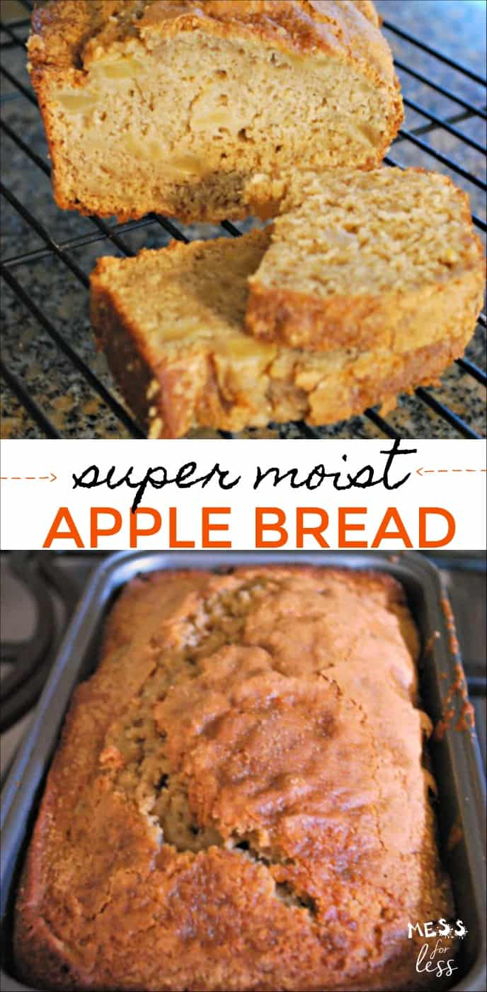 This apple bread made with apple sauce has yummy chunks of apples. It contains apple sauce which makes it yummy and moist. #applebread #cookingwithkids #breadrecipe