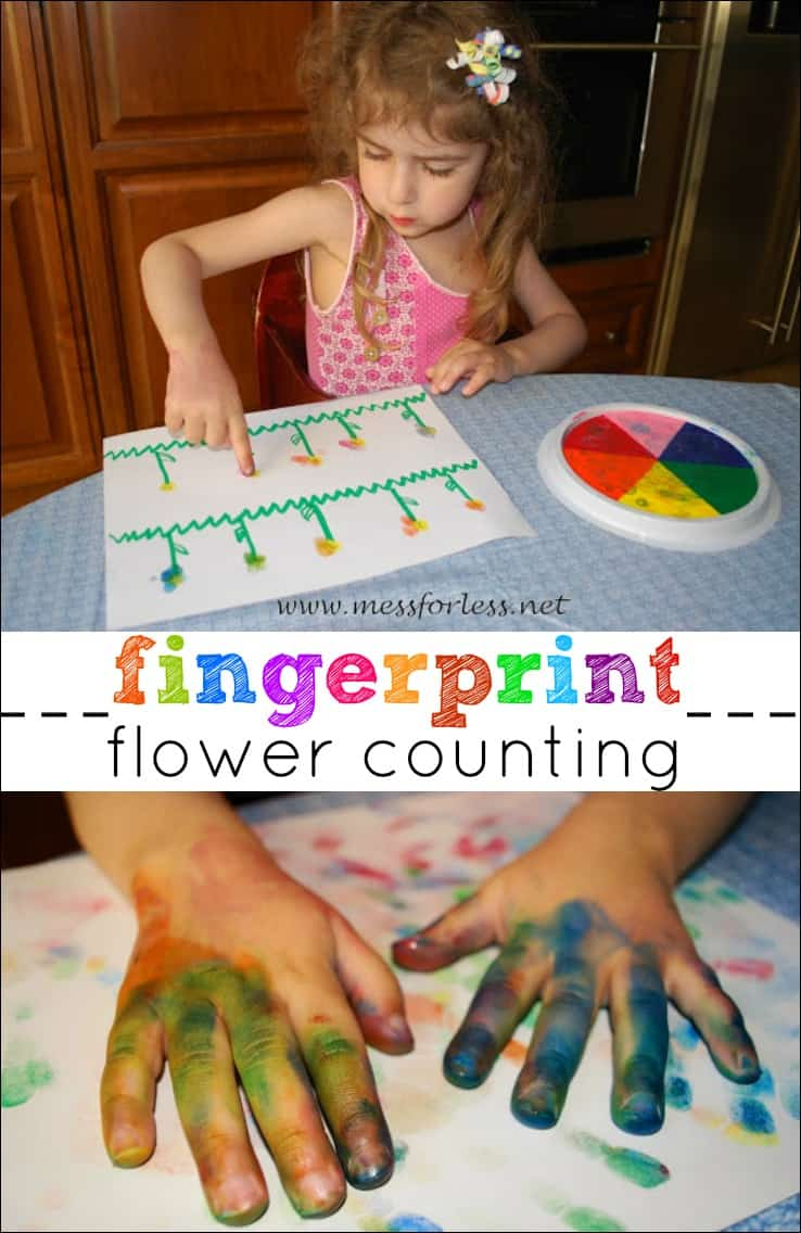 Number Activities for Preschoolers - kids use their fingers to make petals on flowers in this fun activity that combines math and art!