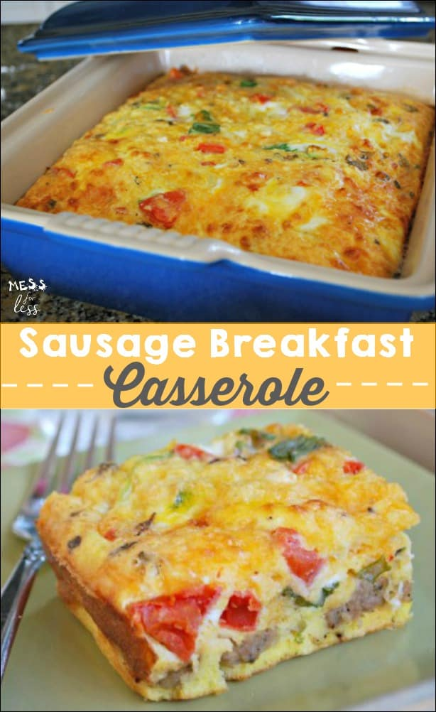 This Sausage Breakfast Casserole can be made the night before and cooked in the morning. This is the perfect holiday or weekend meal. SO good! #AD #QuickerPickerUpper