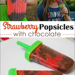 Strawberry Popsicles with Chocolate
