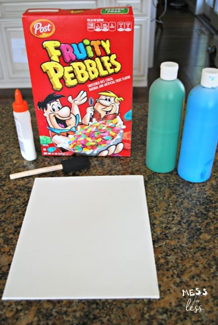 Make a fun flower craft with Fruity Pebbles. Kids will love this mixed media craft! sponsored #PebblesCereal