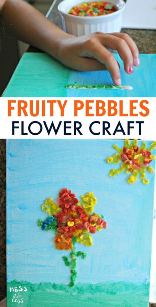 flower craft with fruity pebbles mess for less