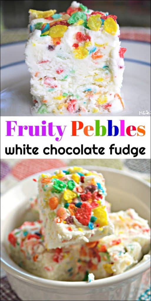 This Fruity Pebbles Fudge is made with white chocolate and has a decadent fruity flavor. sponsored #PebblesCereal