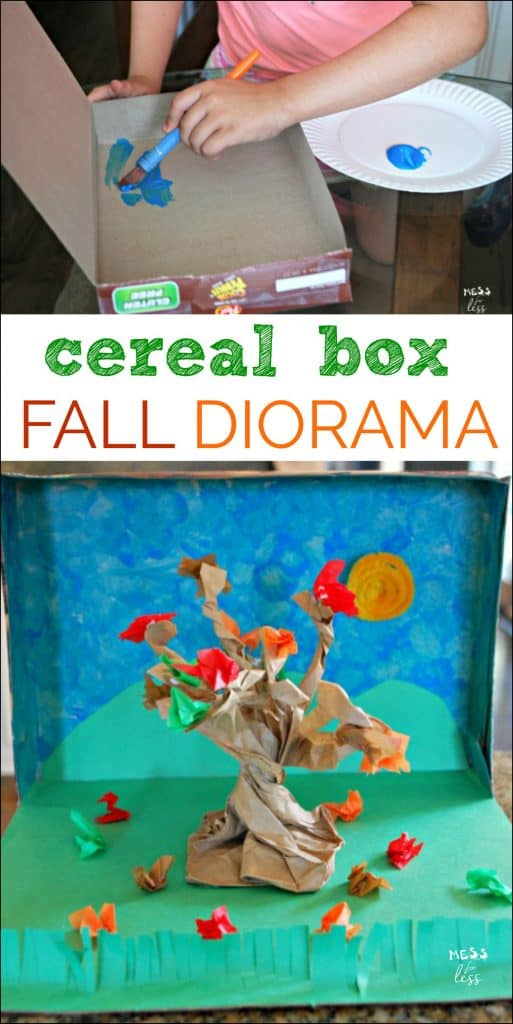 This Fall Diorama made from a cereal box is a great activity to do with kids. It is a great way to teach about reusing items. sponsored #PebblesCereal