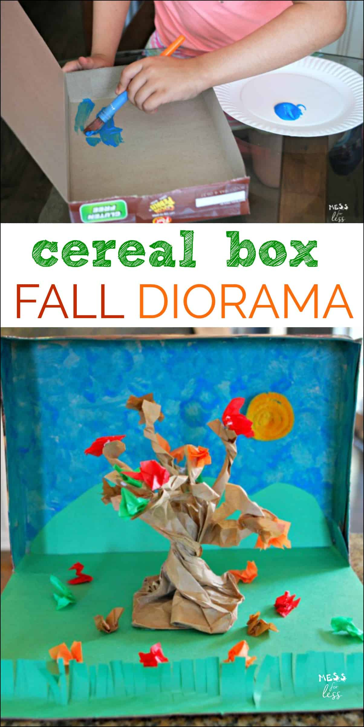 Kids Diorama With Details: Fall Diorama With Cereal Box