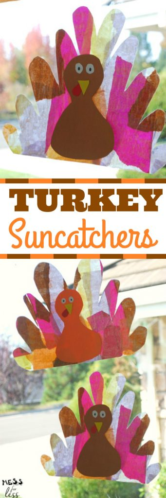 Turkey Suncatcher Craft - hang them in the window, and when the sun light streams through, they will brighten up your home. #sponsored