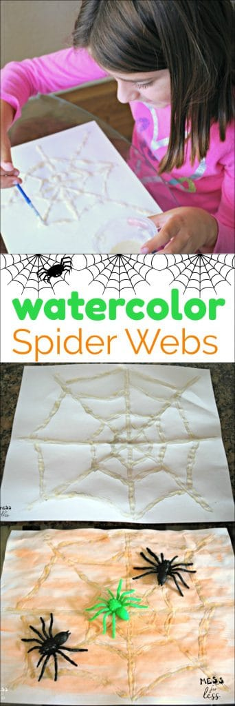 These watercolor spider webs are easy to make with homemade glue and watercolor paint! #sponsored