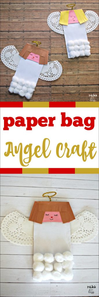 This Paper Bag Angel Craft is a great holiday activity to do with kids. Simple to make with a paper bag and doilies. #sponsored @ImperialSugar #Christmascrafts