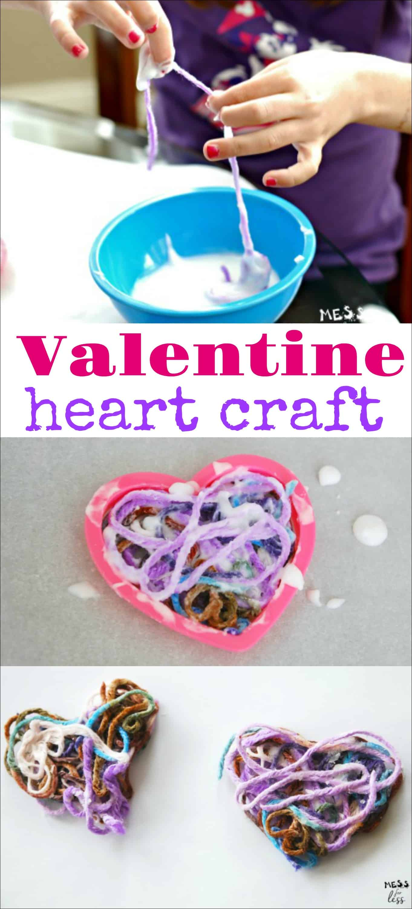 This Valentine Heart Craft is a fun Valentine's Day Activity for kids. Using homemade glue and colorful yarn, kids will make this fun decoration. Such a fun art project for children! #Valentinescraft #kidsactivity