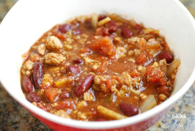 chili in a bowl from 0 point chili in the crock pot recipe