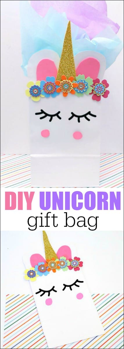 Learn How to Make a Unicorn Gift Bag for a kids birthday party. These can be used as favor bags or a traditional gift bag for the unicorn lover in your life. #diyunicorngiftbag #giftbag #partyfavorbag