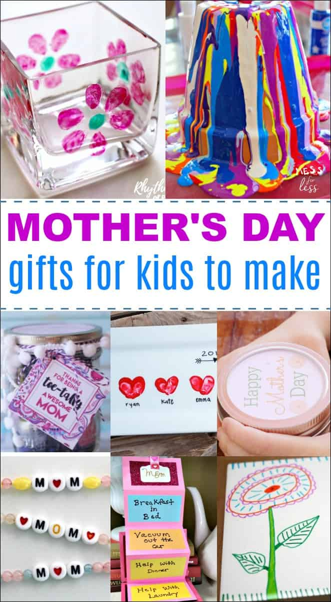 These DIY Mother's Day gifts are perfect for dad to make with the kids. There are also many cute gift ideas that would be appreciated by grandma and other moms in your life. #mothersday #mothersdaygifts