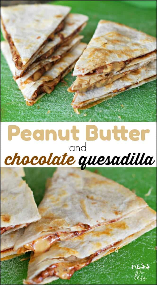 This peanut butter quesadilla with chocolate is the perfect after school snack. The combo of peanut butter and Nutella with the crisp tortilla is sure to become a favorite.