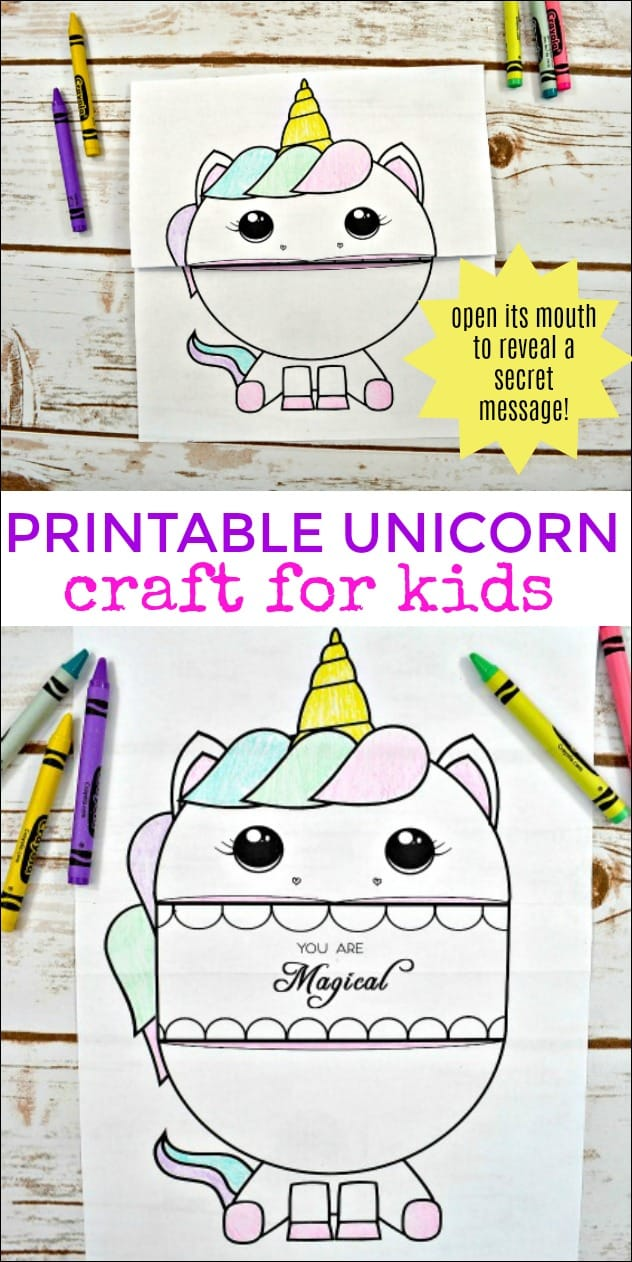 This Printable Unicorn Craft for Kids requires no glue, messy supplies, or anything you don't already have at home. Simply download the free printable and create a fun unicorn activity. #unicorncraft #unicorns #unicornactivity