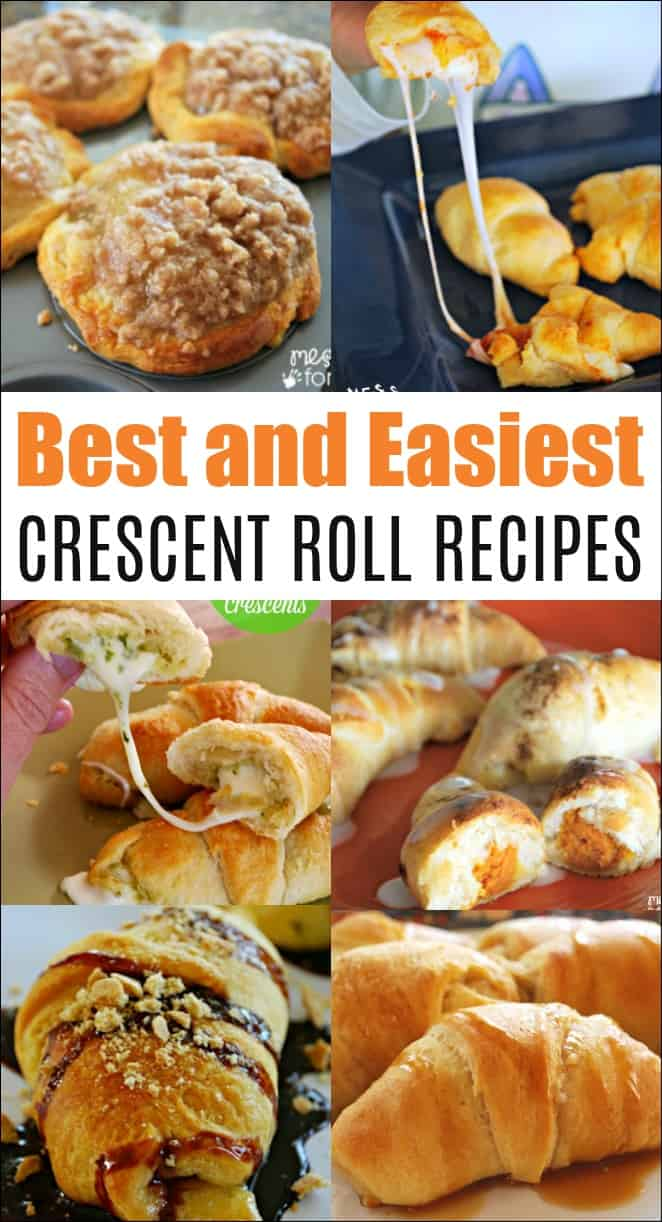 These are the best crescent roll recipes you will find. All are easy to make for breakfast, brunch or snack. #crescentrolls #crescentrecipes #easyrecipes #cookingwithkids
