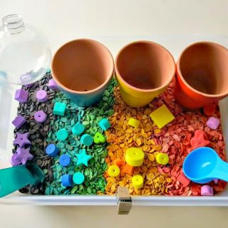 Fine Motor Skills Activity with Dyed Oatmeal