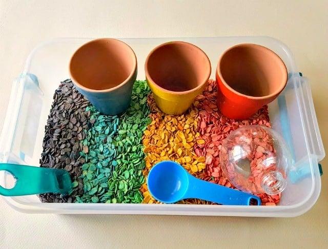 dyed oatmeal sensory bin